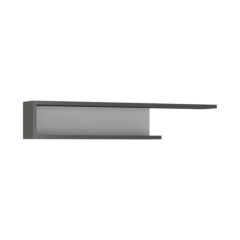Metropolis 140cm wall shelf in Platinum/light grey gloss